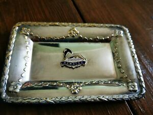 Silver Square Dish Wembley with Lion Jewellery Trinkets Ring