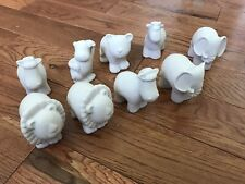 Unpainted Lot Of 9 Ceramic Zoo Animals For Art Kids Child Painting Crafts