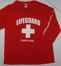 LIFEGUARD ~ Cotton Long Sleeve T Shirt CAPE COD MA ~ Men's Large - Red