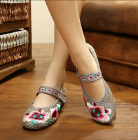Retro Womens Chinese Embroidered Shoes Floral Oxfords Loafer Flat Strap Sandals