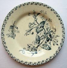 Assiette Art Nouveau Terre de Fer GIEN, modèle en bleu, Le Chèvrefeuille