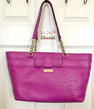 Kate Spade Rose Avenue Embossed Ostrich Leather Bow Tote Handbag Purple Fuschia