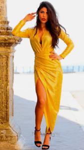 John Zack  Sequin Dress Wrap Over Plunge Yellow long sleeve