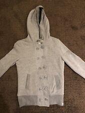 Roxy Women's S Zip Up Fur Jacket Sweatshirt Grey M XS Button Down Winter Coat