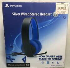 New Open Box Playstion Silver Wired Stereo Headset