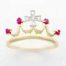 Ruby Diamond Queen Crown Princess Ring. 4 Rubies 5 Diamonds Set in 9k 375 Gold