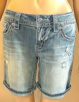 NWOT MISS ME Signature Mid-Shorts Distressed Embellished Cotton-Elastane Size 27
