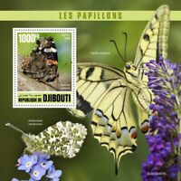 Djibouti Butterflies Stamps 2020 MNH Red Admiral Swallowtail Butterfly 1v S/S