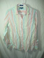 WOMENS GREEN WHITE PINK AQUA FACONNABLE 100% LINEN  BLOUSE TOP SHIRT SIZE M 40