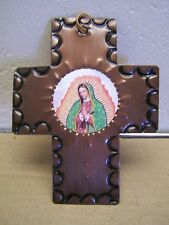 Aged Tin Virgin of Guadalupe Handmade Cross