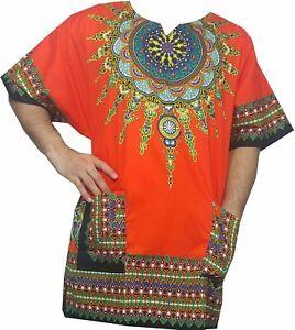 Dashiki Shirt African Men Women Blouse Tribal Hippie Ethnic Top 70's vintage