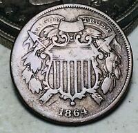 1864 Two Cent Piece 2C SMALL MOTTO KEY DATE Civil War Era US Copper Coin CC6670