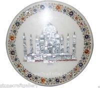 "18"" Marble Coffee Table Top Taj Mahal Inlay Pietra dura Handmade Home Decor"