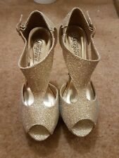 New Look Gold High Heeks With Platform Worn Once Size 6