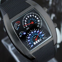 LED Uhr Tacho Design Auto Racer Designer Watch Herrenuhr Armbanduhr schwarz NEU