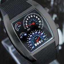 LED Uhr Tacho Design Auto Racer Datum Licht Digital Herrenuhr Armbanduhr Schwarz