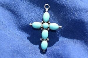 Vintage 925 Stirling Silver Crucifix Cross w Aqua Blue Turquoise Gems Collectors