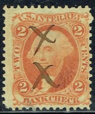 US: 1862 2c USIR BANK CHECK (R6c) orange Tax Stamp with manuscript cancel!!