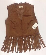 NEW WILDFLOWER Faux Brown Leather Jacket Vest Size Small S Dress Fringe Coat$119