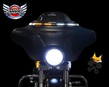CUSTOM DYNAMICS BLACK LED WINDSHIELD TRIM W/TURN SIGNALS HARLEY 14-17 FLHT FLHX