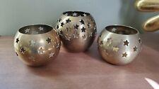 3 Brass Round Star candle Votive Holder