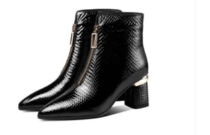 High Grade Patent Leather Women Shoes Ankle Boots Front Zipper Custom Plus Large