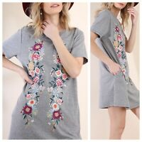 Umgee USA Size Medium Gray Floral Embroidered Pocket T-Shirt Dress Boho Cotton