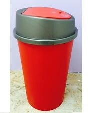Touch Top Bin 25L Liter Red Plastic Kitchen Home Rubbish Bins Office Dustbin New