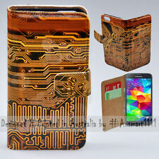Wallet Phone Case Flip Cover for Samsung Galaxy S5 - Electronic Circuit Board