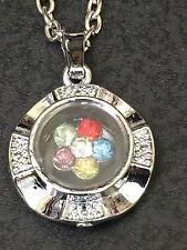 """Flowers Swirling in Crystal Ball Charm Tibetan Silver 18"""" Necklace BIN"""