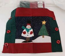 4 Decorative Pillow Covers Holiday Snowman Patchwork W Buttons Christmas Fabric