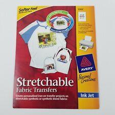 Avery 3302 Ink Jet Strechable Fabric Transfers - 5 Full Size Sheets - NIP