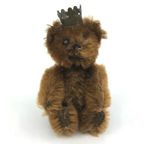 Schuco Berlin Teddy Bear 1950s Crown Mohair Plush over Metal Jointed 7cm 3in Vtg