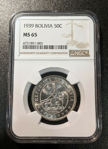 1939 MS65 Bolivia 50 Centavos UNC NGC KM 182 Single Year Type Medal Rotation