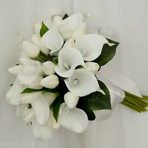 SILK WEDDING FLOWER LATEX WHITE CALLA LILY PURPLE TULIP POSY TULIPS FLOWERS SET