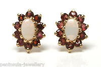 9ct Gold Opal and Garnet Cluster Studs Earrings Gift Boxed Made in UK