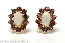 9ct Gold Opal and Garnet Stud Earrings Gift Boxed
