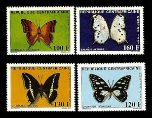 Central African Republic. Butterflies. 1987. Scott 866-869. MNH