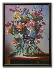 VERY DECORATIVE FLOWER STILL LIFE SIGNED VOIKOV - Original Art Oil Painting