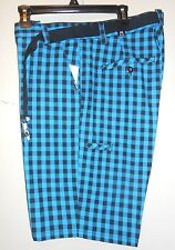 Zoo York Mens Flat Front Check Shorts + Canvas Belt Blue 38 NWT