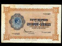 Seychelles:P-10,50 Rupees,1942 * King George VI *
