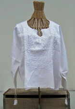 Peasant Blouse Mexican Embroidered White Small