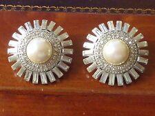 Vintage ST JOHN Designer Signed Silver Pearl Rhinestone Clip On Earrings