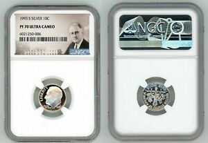 1993 S SILVER ROOSEVELT DIME 10C NGC PF 70 ULTRA CAMEO Q98