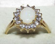 SECONDHAND 9ct YELLOW GOLD OVAL OPAL MULTI SAPPHIRE OVAL CLUSTER RING SIZE P