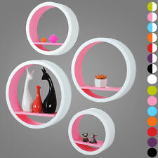 Wall Shelves Floating Wall Mounted Shelf MDF Set of 4 Round Pink URG9231pk