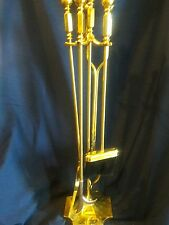 Fireplace Tool Set, Polished Brass Stand Poker, Grabber, Brush, Shovel