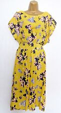 GEORGE SIZE 18 YELLOW GREY FLORAL SUMMER DRESS SOFT MATERIAL HOLIDAY US 14 EU 46