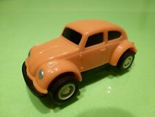 VINTAGE VINYL PLASTIC VW VOLKSWAGEN BEETLE BUG - ORANGE L7.0cm - GOOD - PULLBACK