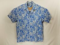 VTG KONA COAST Men's Hawaiian Aloha Camp Floral Palm Trees Blue Shirt Size L